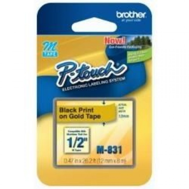 Fita Rotulador Brother 12mm M-831 Preto/Ouro