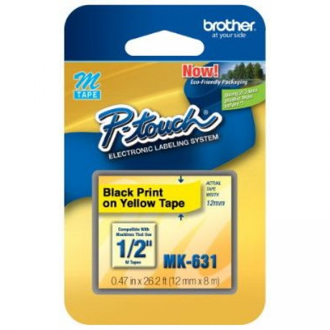 Fita Rotulador Brother MK-631 12mm Preto/Amarelo