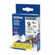 Fita Rotulador Brother 9mm TZ-S221 Preto/Branco