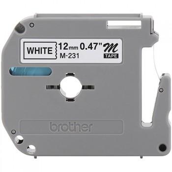 Fita Brother M-231 12mm Preto/Branco