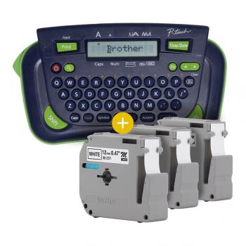 Kit Rotulador Brother PT-80 + 3 Fitas M231 Preto/Branco