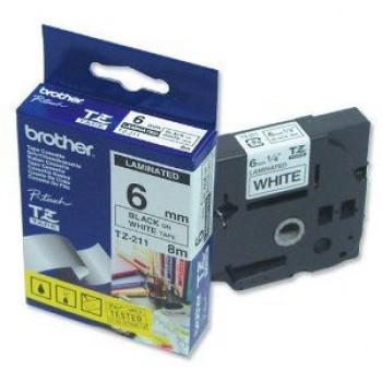 Fita Brother TZE-211 6mm Preto/Branco