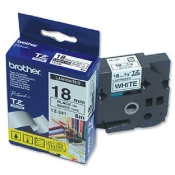 Fita Brother TZE-241 18mm Preto/Branco