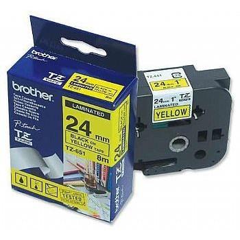 Fita Brother TZe-651 24mm Preto/Amarelo