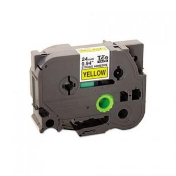 Fita Industrial Brother TZE-S651 24mm Preto/Amarelo