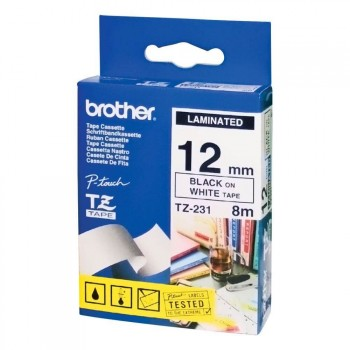 Fita Brother TZE 231 12mm Preto/Branco