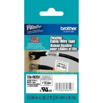 Fita Brother TZe-FX251 24mm Preto/Branco