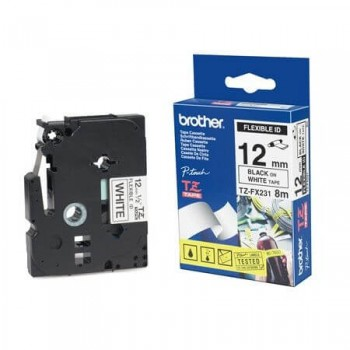 Fita Brother Flexivel TZE-FX231 12mm Preto/Branco